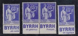 PUBLICITE: TYPE PAIX 65C BLEU BYRRH X4-vin Noble**-vin Généreux**-français**-vin Capiteux* NEUFS 948/950/951/952  C24E - Advertising