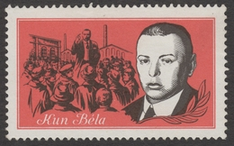 Industry Factory WORKERS - Kun Béla Communist Revolution 1919 JUDAICA - Label Vignette Cinderella - Hungary 1960's - MNH - Usines & Industries