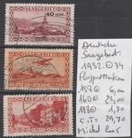 TIMBRES D ALLEMAGNE OBLITEREES  ( SAARGEBIET ) FLUGPOSTMARKEN  1932    Nr  158-160-178° COTE   29.70   € - Luftpost