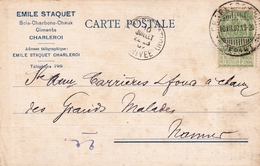 Carte Postale Charleroi 1907 Émile Staquet Boix Charbons Chaux Ciments - 1893-1907 Wappen
