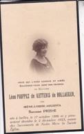 IXELLES Irène Baronne PRISSE épouse Léon POUPPEZ De KETTENIS De HOLLAEKEN 1886-1925 DP Souvenir Mortuaire - Décès