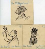 France 3 Dessins Originaux  De Henri Manuel Photographe Parisien 1930 - Vieux Papiers