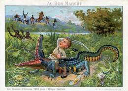 Les Chasses De Toto Photographe En Afrique Crocodile Chromo Bon Marché 1900 - Vieux Papiers