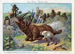 Les Chasses De Toto Photographe En Afrique Rhinoceros Chromo Bon Marché 1900 - Vieux Papiers