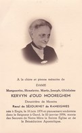 ENGIS GAND Marguerite KERVYN D'OUD MOOREGHEM Veuve De SEJOURNET De RaMEIGNIES 1876-1954 DP Souvenir Mortuaire - Décès