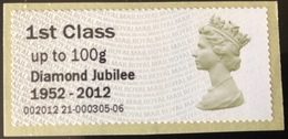 GB Post & Go - Diamond Jubilee 1952 - 2012 Overprint - 1st Class / 100g - No Date Code MNH - Great Britain