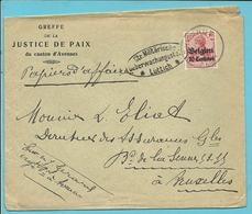 """Lettre TP Germania Cachet HANNUT - Censure - Entete """" JUSTICE DE PAIX DU CANTON D'AVENNES"""" (VK) - Guerre 14-18"""