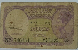 Egypt 5 Piasters Rare Banknote Warer Mark Pyramids - Egypte