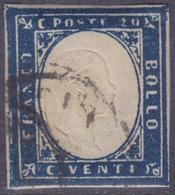 ANTICHI STATI SARDEGNA 1859 / 20c Indaco Oltremare Usato  Sassone 15Bd - Sardaigne