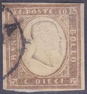 ANTICHI STATI SARDEGNA 1861 / 10c Bruno Chiaro Usato Firmato Biondi  Sassone 14Cm - Sardaigne