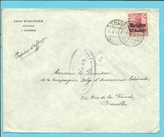 """Lettre TP Germania Cachet Allemand THUIN - Censure CHARLEROI - Entete """" LEON DUQUESNE / NOTAIRE """" (VK) - Guerre 14-18"""