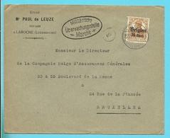 """Lettre TP Germania Cachet Allemand LAROCHE - Censure MARCHE - Entete """" PAUL DE LEUZE / NOTAIRE """" (VK) - Guerre 14-18"""