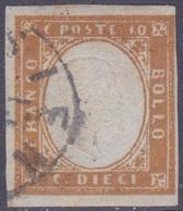 ANTICHI STATI SARDEGNA 1862 / 10c Bistro Arancio Usato   Sassone 14Df - Sardegna