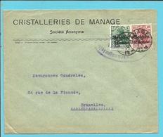 """Lettre TP Germania Cachet Belge MANAGE - Censure CHARLEROI - Entete """"CRISTALLERIE DE MANAGE """" (VK) - Guerre 14-18"""