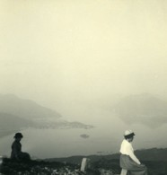 Italie Lac Majeur Au Sommet Du Mottarone Ancienne Photo Stereo Possemiers 1900 - Stereoscopic