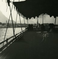 Italie Lac Majeur Baveno Bateau Ancienne Photo Stereo Possemiers 1900 - Photos Stéréoscopiques