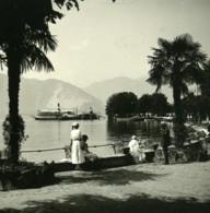 Italie Lac Majeur Pallanza Jardin Public Bateau Ancienne Photo Stereo Possemiers 1900 - Stereoscopic