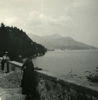Italie Lac Majeur Pallanza Eden Hotel Vue Vers Intra Ancienne Photo Stereo Possemiers 1900 - Stereoscopic