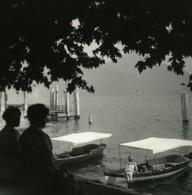 Italie Lac Majeur Intra Bateaux Ancienne Photo Stereo Possemiers 1900 - Photos Stéréoscopiques