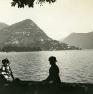 Suisse Lac De Lugano Castagnola & Le Monte Bre Ancienne Photo Stereo Possemiers 1900 - Photos Stéréoscopiques