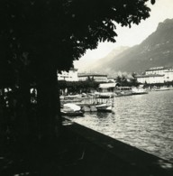 Suisse Lac De Lugano Riva Vincenzo Vela Ancienne Photo Stereo Possemiers 1900 - Stereoscopic