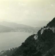 Suisse Lac De Lugano & Castagnola Panorama Ancienne Photo Stereo Possemiers 1900 - Stereoscopic