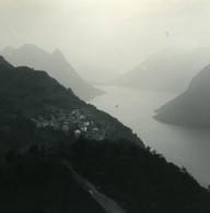 Suisse Lac De Lugano Au Sommet Du Monte Bre Ancienne Photo Stereo Possemiers 1900 - Photos Stéréoscopiques