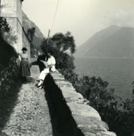 Italie Lac De Lugano Chemin D'Albogasio à Oria Ancienne Photo Stereo Possemiers 1900 - Stereoscopic