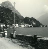 Italie Lac De Lugano San Mamete & Castello Ancienne Photo Stereo Possemiers 1900 - Photos Stéréoscopiques