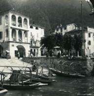 Italie Lac De Lugano Campione Le Port Ancienne Photo Stereo Possemiers 1900 - Photos Stéréoscopiques