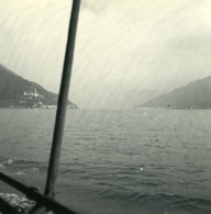 Italie Lac De Lugano Vue De Porto Ceresio Ancienne Photo Stereo Possemiers 1900 - Stereoscopic