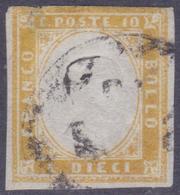 ANTICHI STATI SARDEGNA 1862 / 10c Arancio Ocra Usato   Sassone 14De - Sardaigne