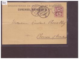 CARTE AVEC No ZUMSTEIN 60A - BRIQUETERIES DE BUSSIGNY ET ECLEPENS ( PLI HORIZONTAL ) - 1882-1906 Armoiries, Helvetia Debout & UPU