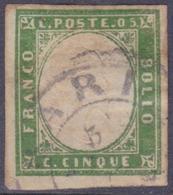 ANTICHI STATI SARDEGNA 1862 / 5c Verde Giallastro Chiaro Usato  Sassone 13Db - Sardaigne
