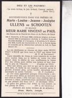 EECKEREN BRUXELLES Marie-Louise ULLENS De SCHOOTEN Des Soeurs De La Charité De Jésus Et De Marie De Gand 1920 DP - Décès