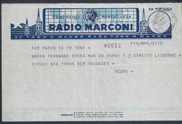 Telegram From Marconi Radio Issued From Paris With Obliteration Lisbon Of 1949. Telegramm Von Marconi Radio. 2sc. Rare - Telecom