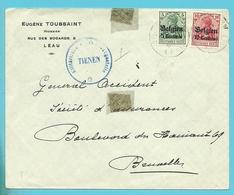 """Lettre TP Germania Cachet LEAU - Censure TIENEN - Entete """"HUISSIER TOUSSAINT """" (VK) - Guerre 14-18"""