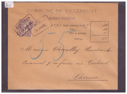 LETTRE AVEC No ZUMSTEIN 64A - COMMUNE DE VILLENEUVE - 1882-1906 Armoiries, Helvetia Debout & UPU