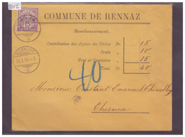 LETTRE AVEC No ZUMSTEIN 64A - COMMUNE DE RENNAZ - 1882-1906 Armoiries, Helvetia Debout & UPU