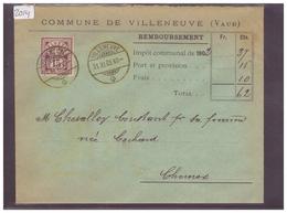 LETTRE AVEC No ZUMSTEIN 64B - COMMUNE DE VILLENEUVE - 1882-1906 Armoiries, Helvetia Debout & UPU