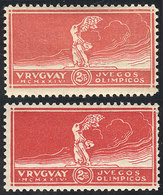 TOPIC FOOTBALL/SOCCER: Sc.282, 2c. Olympic Football Winners, Winged Victory Of Samothrace, 2 Stamps In DIFFERENT COLORS, - Non Classés
