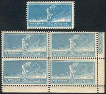TOPIC FOOTBALL/SOCCER: Sc.284, 12c. Olympic Football Winners, Winged Victory Of Samothrace, MNH Corner Block Of 4 In LIG - Soccer