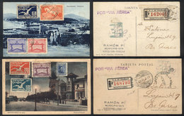 TOPIC FOOTBALL/SOCCER: 2 Postcards Sent By Registered Airmail From Montevideo To Buenos Aires In 1929, Franked By Sc.388 - Non Classés