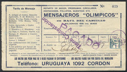 TOPIC FOOTBALL/SOCCER: Receipt Of The Year 1929 Of Messenger Company MENSAJEROS OLÍMPICOS (the Name Made Reference To Th - Non Classés