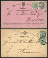 GERMANY: 2 Postcards Used In 1875 And 1876, Each Franked By Pair Michel 31, Excellent Quality! - Allemagne