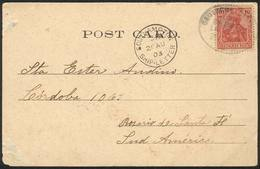 GERMANY: Postcard (view Of UK, Southampton, Western Shore) Posted At Sea To Argentina On 20/AU/1903 With German Postage  - Allemagne