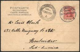 GERMANY: Postcard With View Of Frankfurt Sent To Montevideo On 17/AP/1905, Franked With 10Pf. And Cancelled FRANKFURT (M - Allemagne