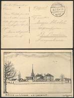 GERMANY: Postcard With View: Schule Von Liesse. Z.Z. Lazarett, Used Stampless With Feldpost Postmark Of 30/MAR/1916, VF  - Germany