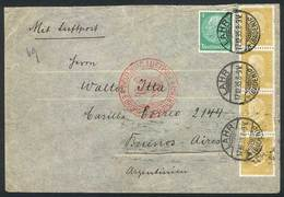 GERMANY: Air Mail Cover Sent From Lahr To Argentina On 17/DE/1935, Franked By Mi.437 Strip Of 4 + Another Value, Very Fi - Allemagne