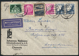 GERMANY: Airmail Cover Franked By 5 Different Stamps, Including 2 Twin Values Of 40Pf., Sent To Argentina On 26/JUN/1936 - Allemagne